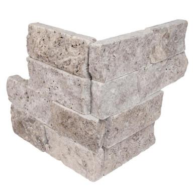 MS International Stacked Stone M-Series: Silver Travertine 4.5X9 Split Face Mini Corner Ledger Panel LPNLTSIL4.59COR-MINI