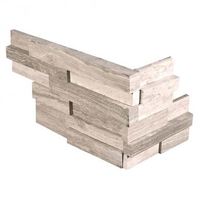 MS International Stacked Stone M-Series: White Oak 4.5X9 3D Honed Mini Corner Ledger Panel LPNLMWHIOAK4.59COR-3DH-MINI