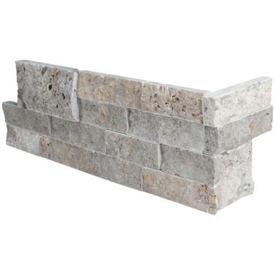 MS International Stacked Stone Series: Silver Travertine 6X12X6 Corner L Panel LPNLTSIL618COR