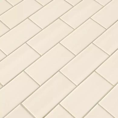 MS International Ceramic Series: 3x6 Almond Glossy Subway Wall Tile NALMGLO3X6-N
