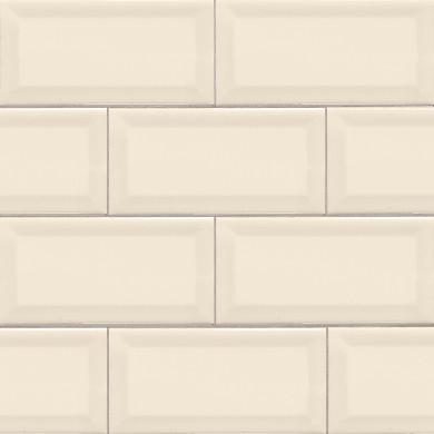 MS International Ceramic Series: 3x6 Almond Glossy Subway Beveled Wall Tile NALMGLO3X6BEV-N
