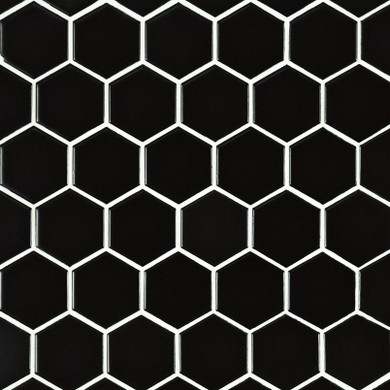 "MS International Porcelain Series: 2"" Black Hexagon Matte Wall Tile SMOT-PT-RETNERO-2HEXM"