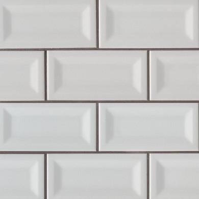 MS International Ceramic Series: 3x6 Gray Glossy Inverted Beveled Wall Tile NGRAGLO3X6INVBEV-N