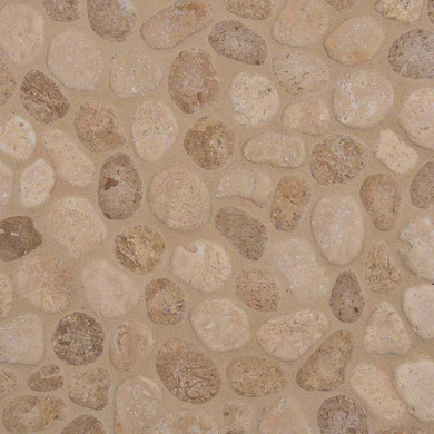 MS International Travertine Series: 10mm Travertine Blend Pebble Tumbled Pattern Wall Tile SMOT-PEB-TRAVBLND