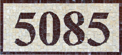 Handmade custom mosaic house number plaque made from 3/8″ polished marble tiles, Mosaic House Numbers, House Numbers,