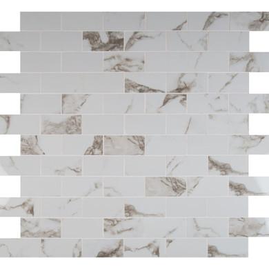 MS International  Pietra Series: Statuario 2X4 Polished Mosaic NPIESTA2X4P