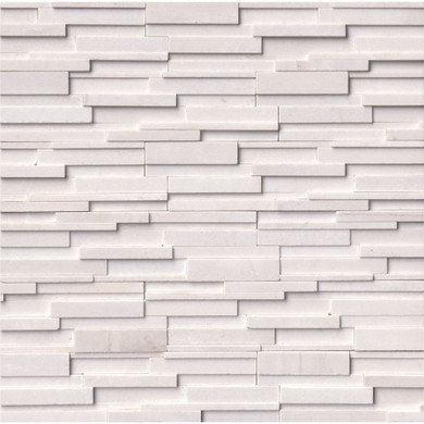 MS International Stacked Stone Series: Arctic White 6x24 3D Honed Ledger Panel LPNLMARCWHI624-3DH