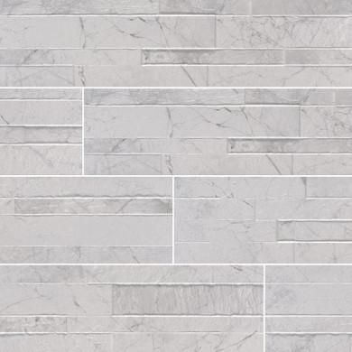 MS International Stacked Stone Series: Carrara White 6X24 Matte Porcelain Ledger Panel NCARWHI6X24
