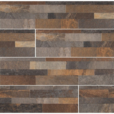 MS International Stacked Stone Series: Rocky Gold 6X24 Matte Porcelain Ledger Panel NROCGOL6X24