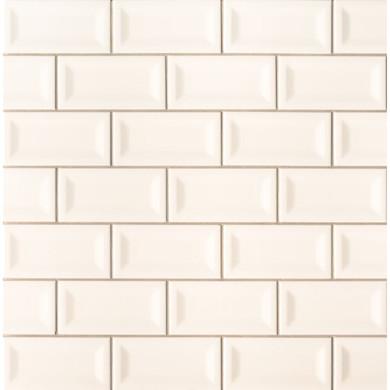 MS International Backsplash Series: Almond Glossy 3X6 Inverted Beveled Subway Tile NALMGLO3X6INVBEV