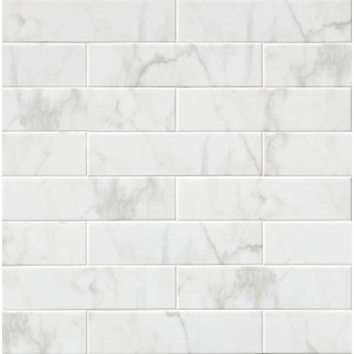 MS International Backsplash Series: Classique White Carrara 4X16 Glossy Subway Tile NWHICARGLO4X16