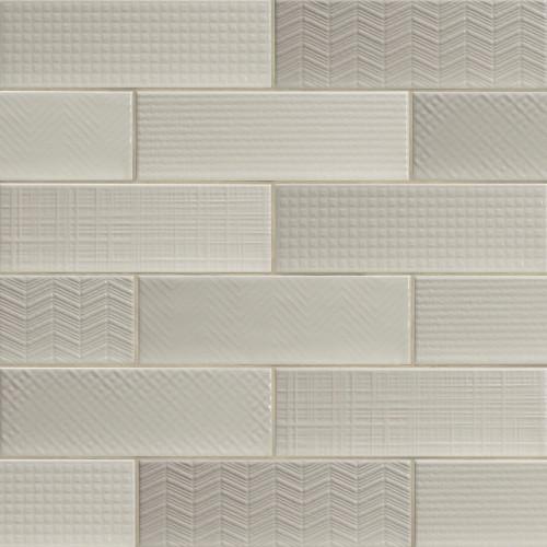 MS International Backsplash Series: Urbano Crema 3D Mix 4x12 Glossy Ceramic Subway Tile NURBCREMIX4X12