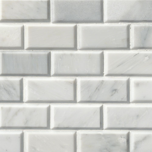 MS International Backsplash Series: Arabescato Carrara 2X4 Polished Bevel Mosaic Subway Tile SMOT-GRE-2X4PB