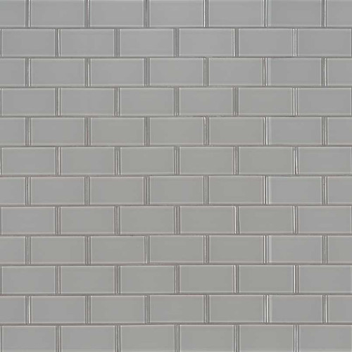 MS International Backsplash Series: 2x4 Oyster Gray Brick Pattern Glass Mosaic Subway Tile SMOT-GLSST-OYGR8MM