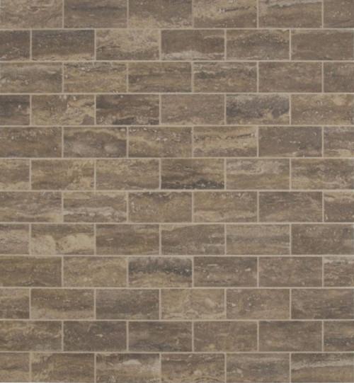 MS International Backsplash Series: Peitra Venata Noce 2X4 Polished Mosaic Subway Tile NPIEVENNOC2X4P