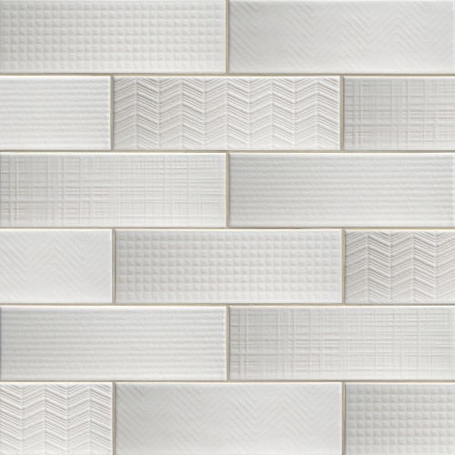 MS International Backsplash Series: Urbano Pure 3D Mix 4x12 Glossy Ceramic Subway Tile NURBPURMIX4X12