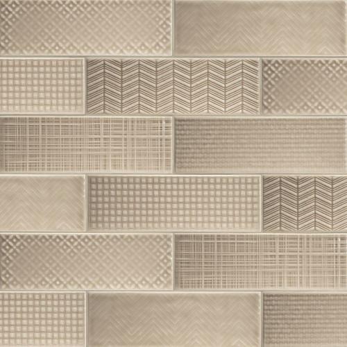 MS International Backsplash Series: Urbano Warm Concrete 3D Mix 4X12 Glossy Ceramic Subway Tile NURBWARCONMIX4X12
