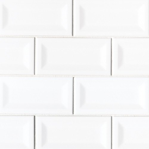 MS International Backsplash Series: White Glossy 3X6 Inverted Beveled Subway Tile NWHIGLO3X6INVBEV