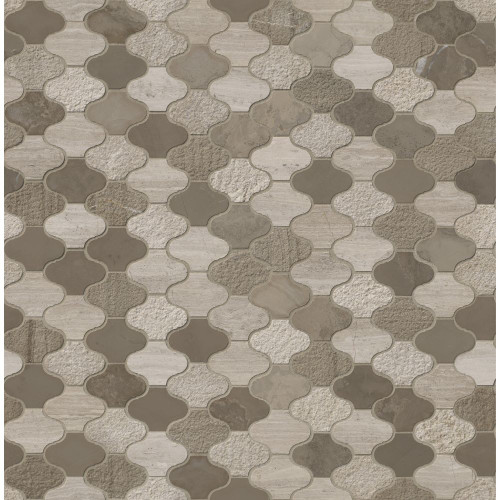 MS International Specialty Shapes Wall Series: Arctic Storm Arabesque 12X12 Multi Finish Marble Mosaic Tile SMOT-AS-ARABESQUE