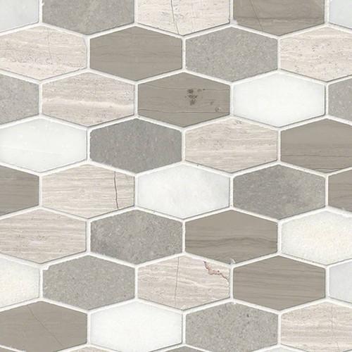 MS International Specialty Shapes Wall Series: Bellagio Blend Elongated Hexagon Honed Mosaic Tile SMOT-BELBLND-HEXEL10MM