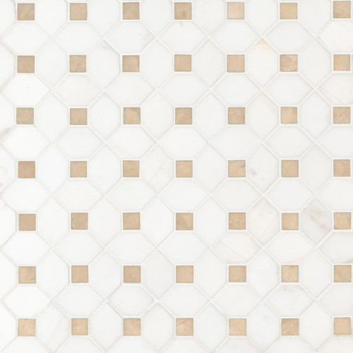 MS International Specialty Shapes Wall Series: Bianco Dolomite Crema Dotty Polished Backsplash Mosaic Tile SMOT-BIANDOL-CEMDOTP