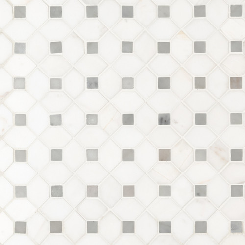 MS International Specialty Shapes Wall Series: Bianco Dolomite Dotty Polished Backsplash Mosaic Tile SMOT-BIANDOL-DOTP