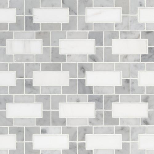 MS International Specialty Shapes Wall Series: Bianco Dolomte 12x12 Polished Lynx Backsplash Mosaic Tile SMOT-BIANDOL-LYNXP