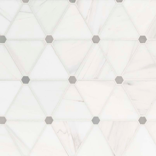 MS International Specialty Shapes Wall Series: Bianco Dolomite Pinwheel Polished Backsplash Mosaic Tile SMOT-BIANDOL-PINWP