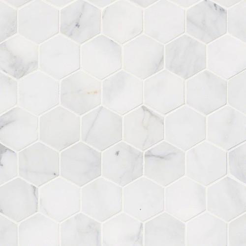 MS International Specialty Shapes Wall Series: Calacatta Cressa 2X2 Hexagon Pattern Honed Mosaic Tile SMOT-CALCRE-2HEXH