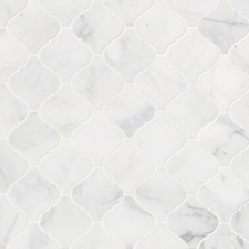 MS International Specialty Shapes Wall Series: Calacatta Cressa Arabesque Pattern Honed Mosaic Tile SMOT-CALCRE-ARABESQ