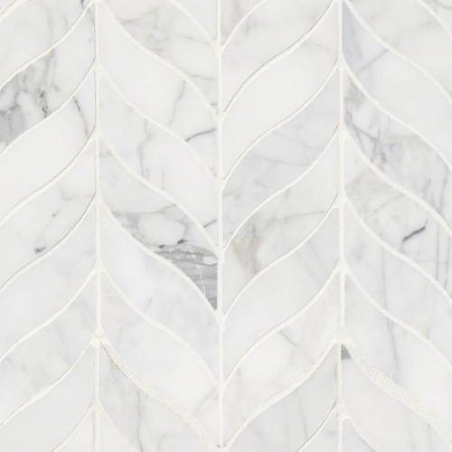 MS International Specialty Shapes Wall Series: Calacatta Cressa Leaf Pattern Honed Mosaic
