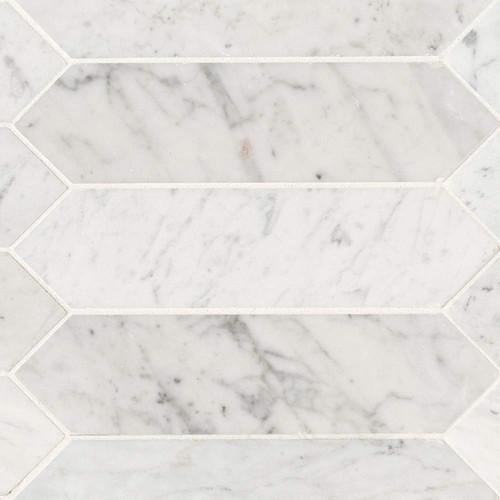 MS International Specialty Shapes Wall Series: Carrara White 3x12 Honed Picket Shape Tile SMOT-CAR-PK3X12H