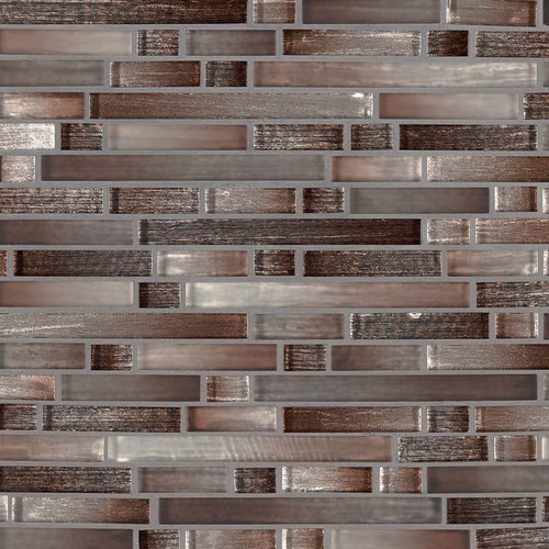 MS International Glass Tile Series: Akaya Copper Interlocking 8mm Glass Tile
