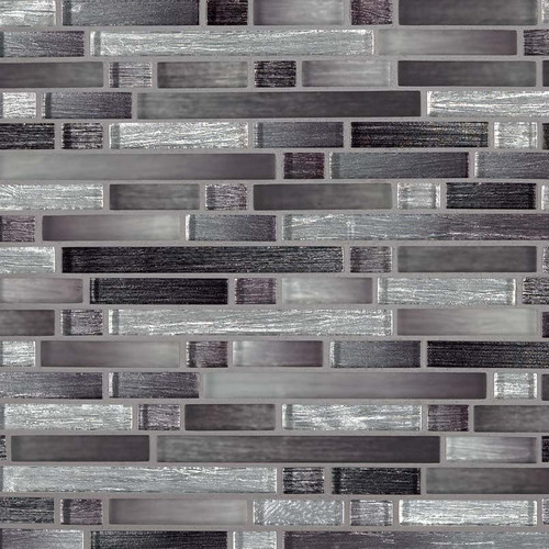 MS International Glass Tile Series: Akaya Nero Interlocking 8mm Glass Tile SMOT-GLSIL-AKANER8MM