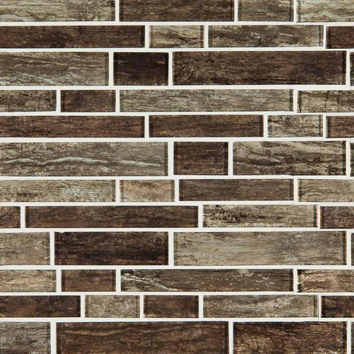 MS International Glass Tile Series: Antico Pewter Interlocking Pattern Glass Mosaic Tile SMOT-GLSIL-ANTPEW8MM