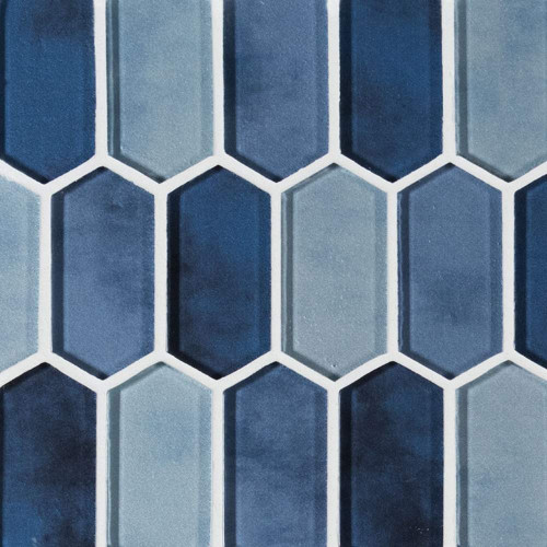 MS International Glass Tile Series: Boathouse Blue Picket Pattern Glass Mosaic Tile SMOT-GLSPK-BOATBLU8MM
