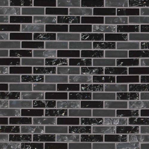 MS International Glass Tile Series: Glissen Black 5/8X5/8 Brick Pattern Glass Mosaic Tile SMOT-GLSB-CR-GLI6MM