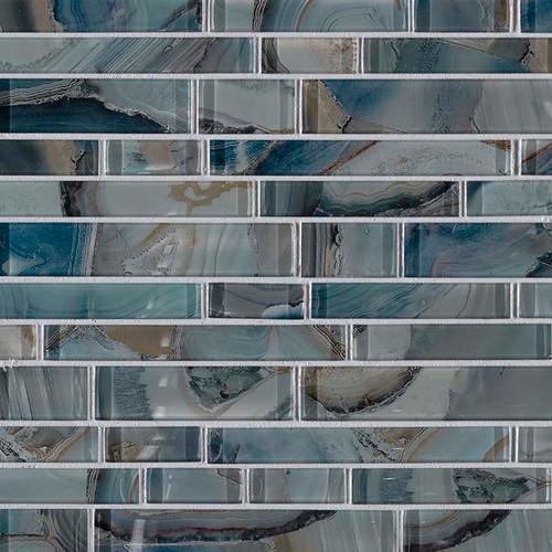 MS International Glass Tile Series: Night Sky Interlocking Pattern Crystallized Glass Mosaic Tile SMOT-GLSIL-NIGSKY8MM