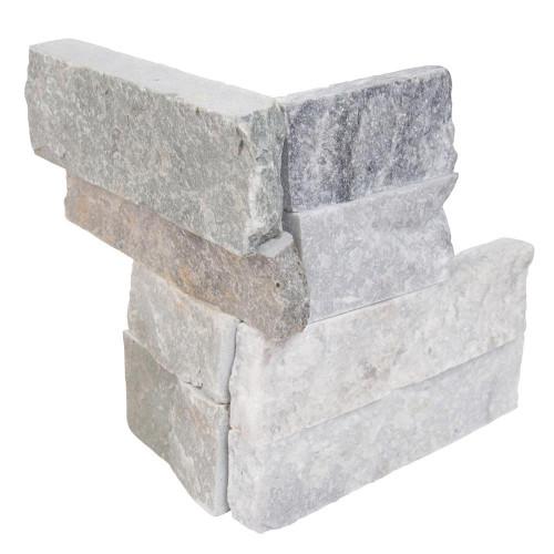 MS International Stacked Stone Series: Alaska Gray 4.5X9 Split Face Mini Corner Ledger Panel LPNLMALAGRY4.59COR-MINI