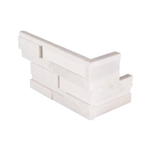 MS International Stacked Stone Series: Arctic White 4.5X9 Split Face Mini Corner Ledger Panel LPNLQARCWHI4.59COR-MINI