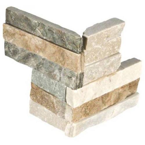 MS International Stacked Stone Series: Golden Honey 4.5x9 Split Face Mini Corner Ledger Panel LPNLQGLDHON4.59COR-MINI