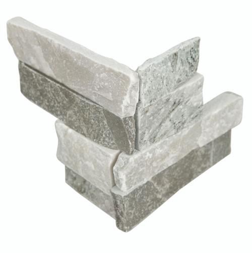 MS International Stacked Stone Series: Sierra Blue 4.5x9 Split Face Mini Corner Ledger Panel LPNLQSIEBLU4.59COR-MINI