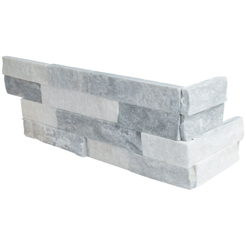MS International Stacked Stone Series: Alaska Gray 6x12x6 Split Face Corner Ledger Panel LPNLMALAGRY618COR