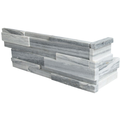 MS International Stacked Stone Series: Alaska Gray 6x12x6 3D Honed Corner Ledger Panel LPNLMALAGRY618COR-3DH