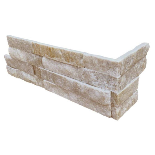 MS International Stacked Stone Series: Arctic Golden 6x12x6 Split Face Corner Ledger Panel LPNLQARCGLD618COR