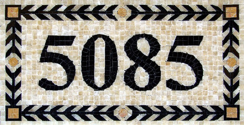 Mosaic-House-Number-Custom-Made-Sign-house-numbers-marble. Product Name – Athens – H1P  This handmade custom mosaic house number plaque is made from 3/8″ polished marble tiles. It can be ordered as is, choosing the colors that you see below.  You can also choose your own colors by reviewing the color samples link below to make your own color combination. The size and price for these beautiful and elegant mosaic house numbers will change depending on how many numbers are in your plaque.  Colors As Sown in Photo are –  Border 1 Color: Black Border 2 Color: Gialo Real Background Color: Honey Onyx Number Color: Black  Size As Shown in Photo is –  10″ h x 18 5/8″ w