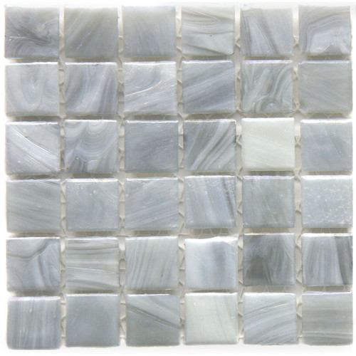 Hakatai Calliope Monet Grey 0.625 x 0.625 Glass Mosaic Tile