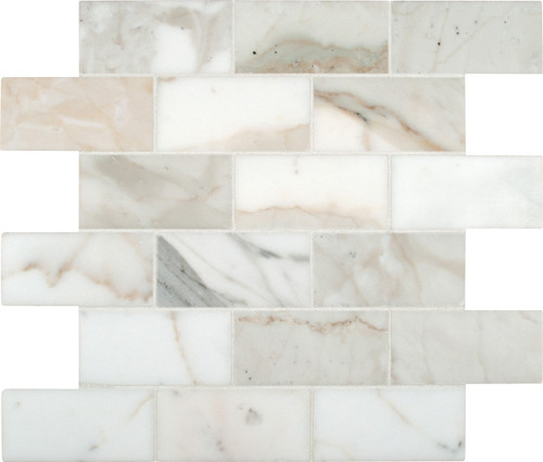 "MSI Calacatta Gold Mounted 4"" x 2"" Marble Mesh Polished Mosaic in White"