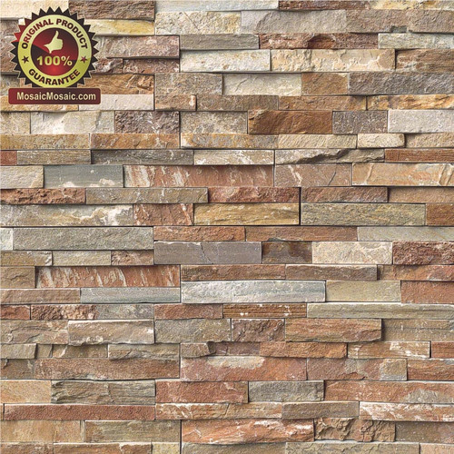 "MS International Golden White Ledger Panel 6"" x 24"" Natural Slate Wall Tile"
