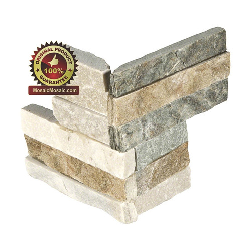 "MS International Golden Honey Ledger Corner 6"" x 18"" Natural Slate Wall Tile : LPNLQGLDHON618COR"
